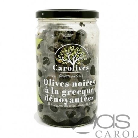 Olives Noires Dénoyautées Façon Grèce Bocal 320g